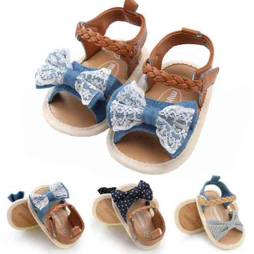 Summer Princess Baby Girl Lace Bow Sandals, Flat Heels Shoes