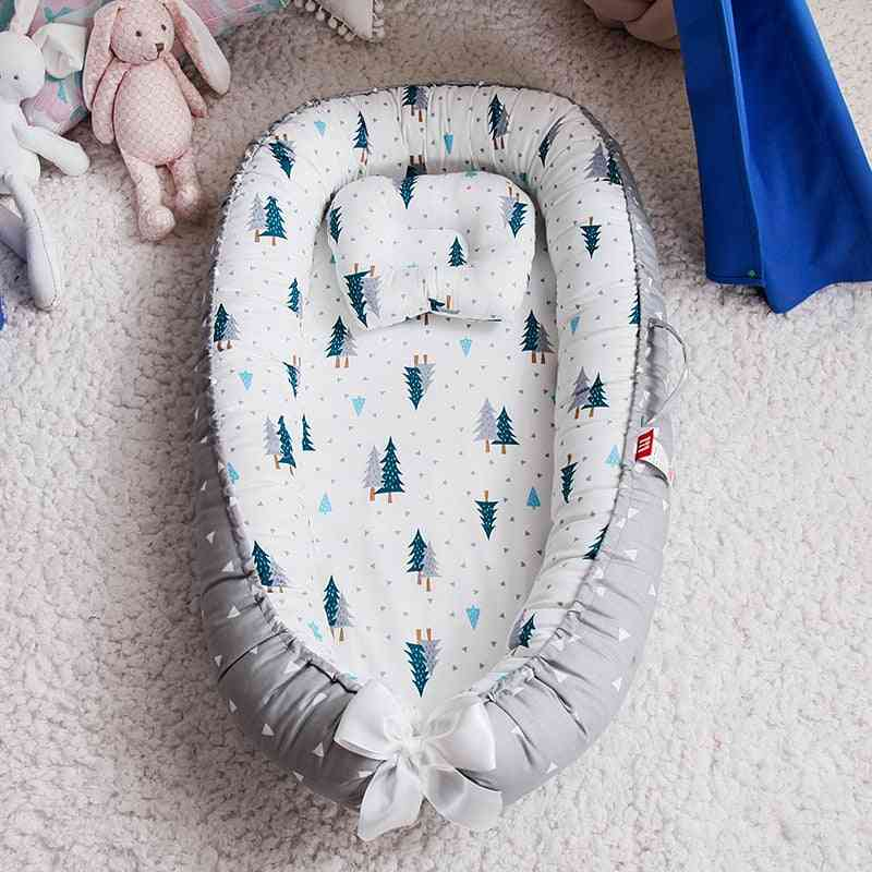 Foldable Newborn Sleeping Nest Bed With Pillow- Outdoor Bassinet Baby Cot Fence Lounger Removable