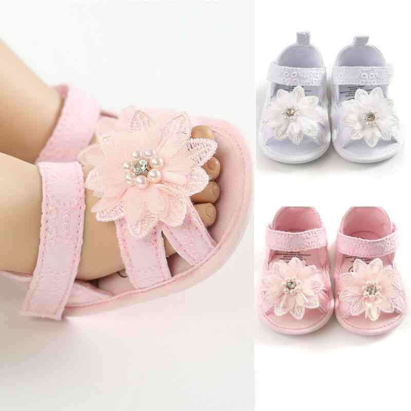Baby Girl Bow Sandals, Flat Heels Summer Flower Pearls Shoes