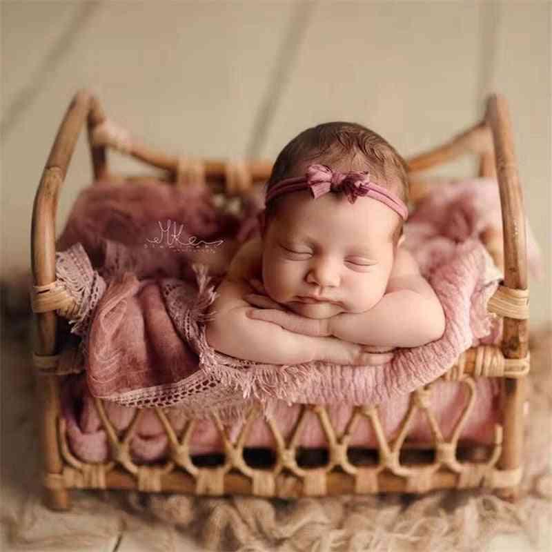 Baby Props Vintage Woven Rattan Basket
