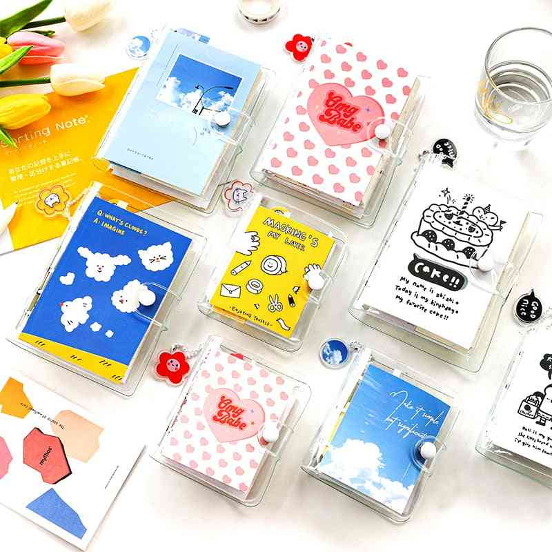 2 Designs Of Mini Loose-leaf Hand Book Set With Acrylic Pendant