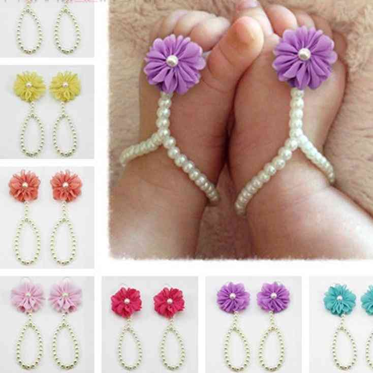 Balleen Shiny Baby Pearl Anklets Shoe, Fashion Jewelry With Flowers Foot Chain