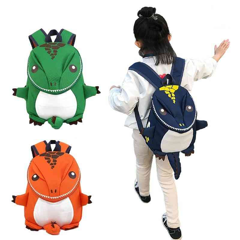 Cute Cartoon Dinosaur Printed- Backpack With Safety Leash