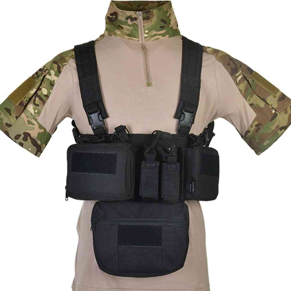 Chest Ring With Drop Down Pouch-airsoft Tactical Vest-military Pack Molle System