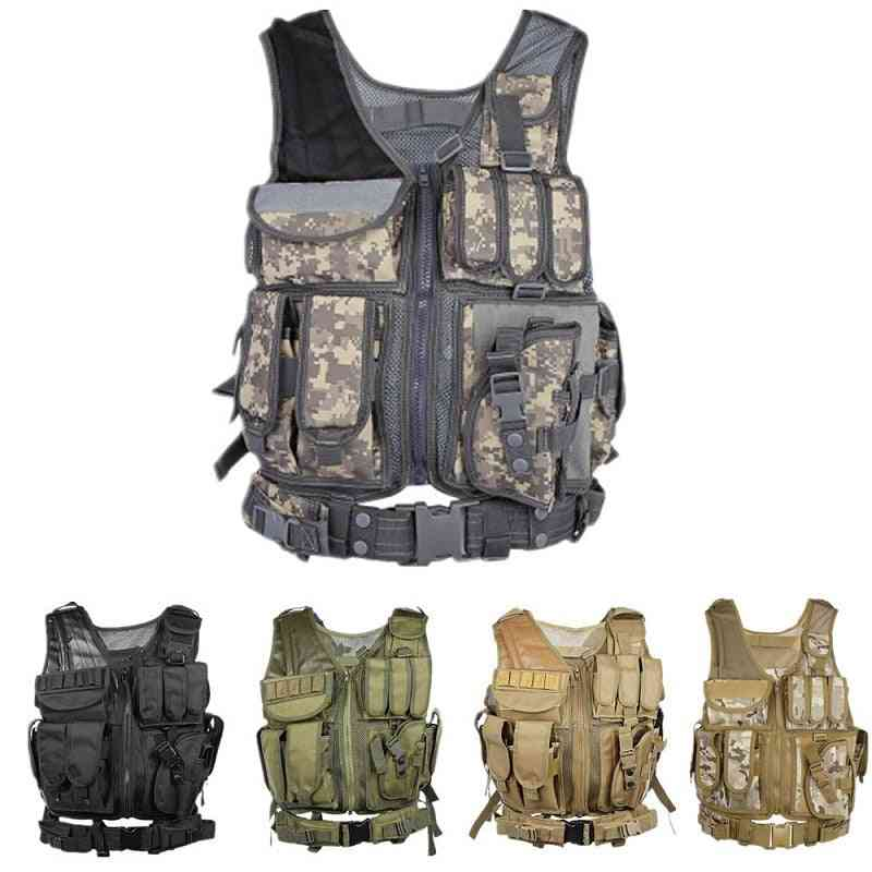 Men Military Tactical Molle Vest-plate Carrier With Holster