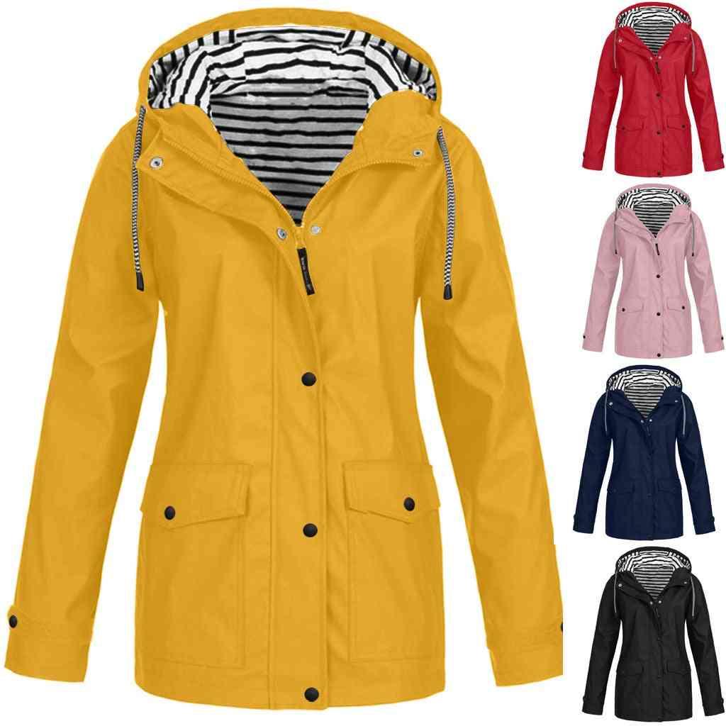 Women Jackets, Winter Coat Solid, Rain Outdoor Plus Waterproof Hooded Raincoat, Windbreaker Lightweight