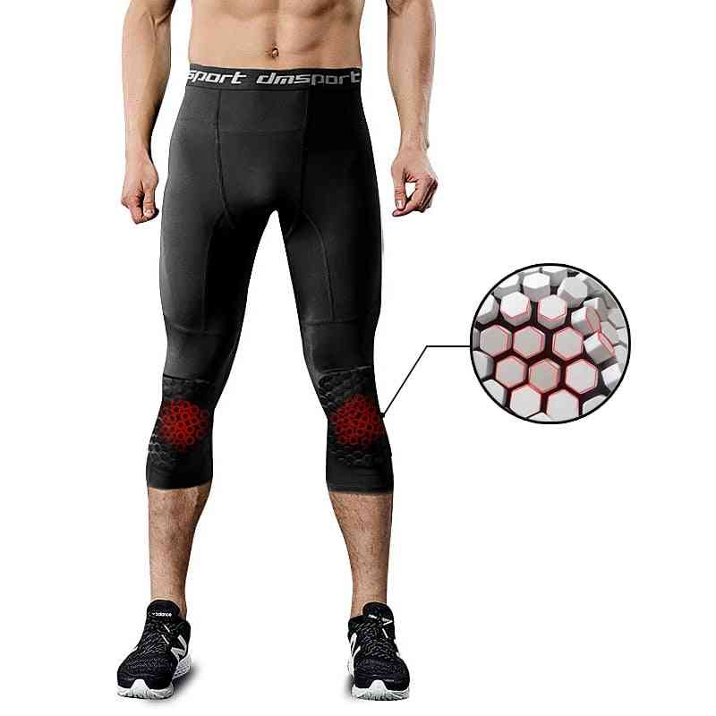 Men's Running Tight Honeycomb Anti-collision Sports Knee Pads Leggings For Basketball Training Compression Pants