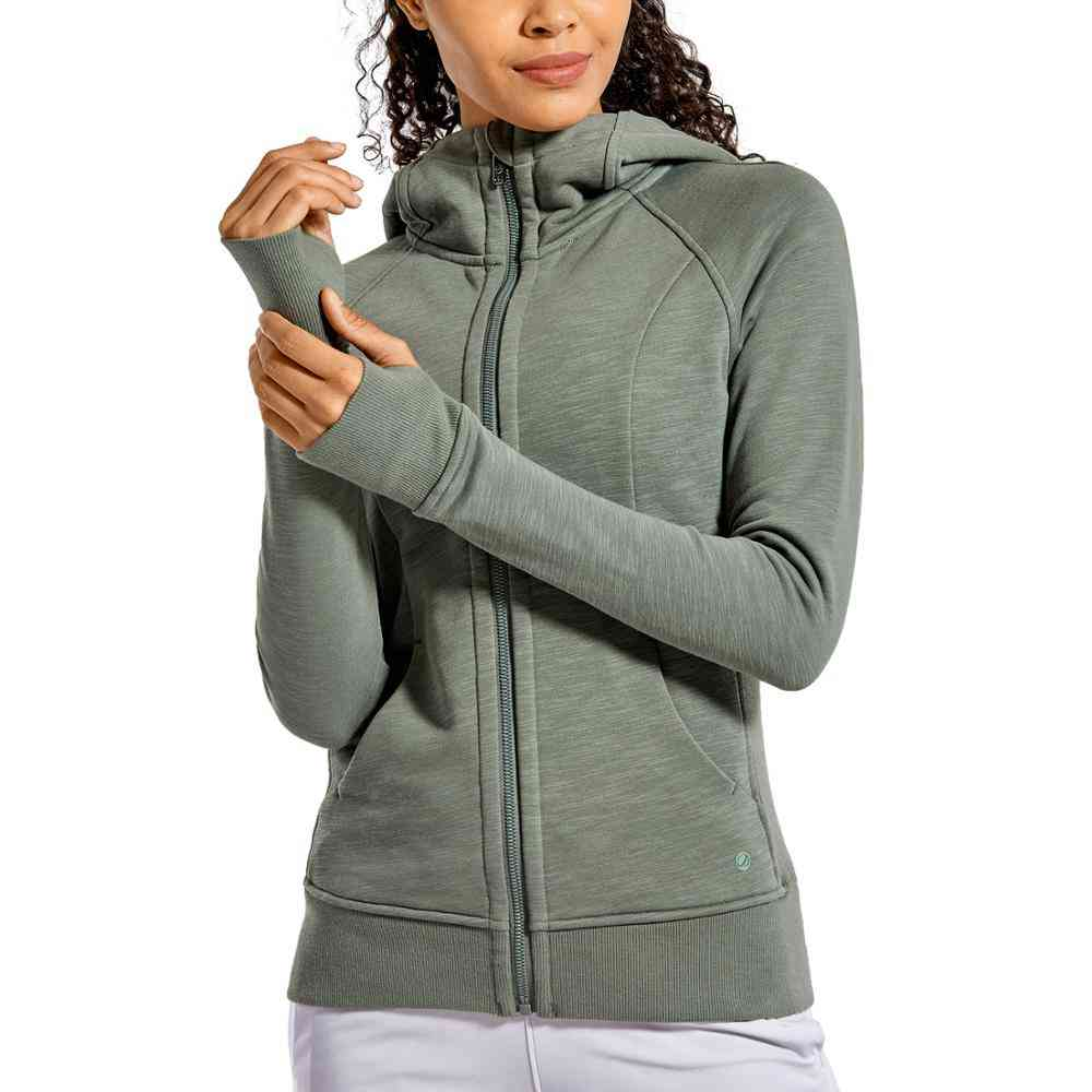 Women's Cotton Hoodies-sport Workout Sweatshirt With Full Zip, Thumb Holes