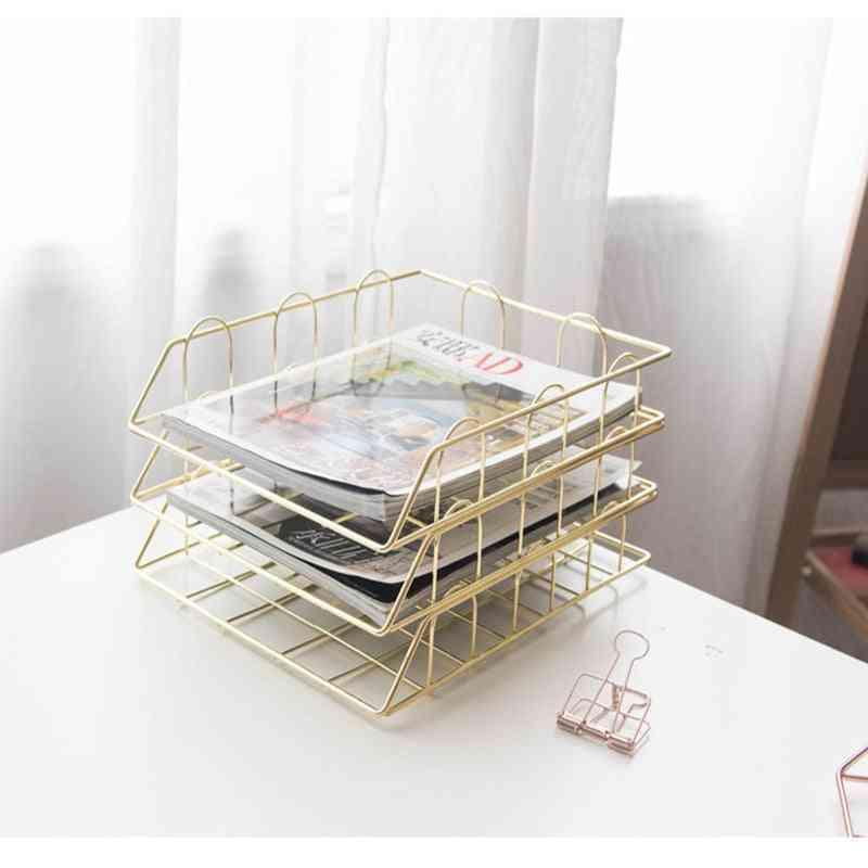 Creative Metal Tray Set- Handmade Overlayable File Organizer