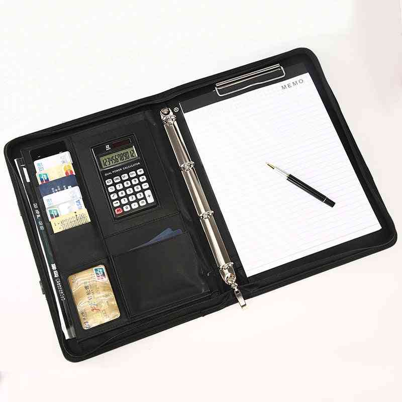 A4 Leather Office Document Folder- Multifunctional Business Portfolio  Organizer