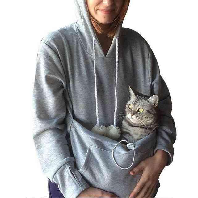 Sweatshirt, Cat Hoodie With Kangaroo Pocket