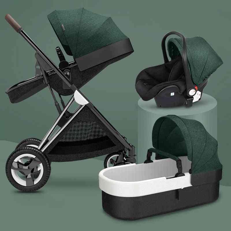 3-in-1 Bi-directional Baby Stroller, Four-wheel Stroller