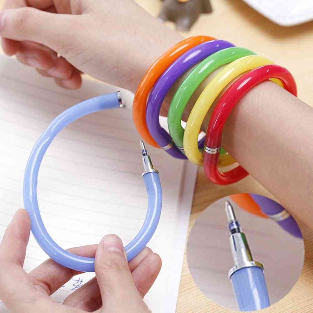 Ballpoint, Cute Soft Plastic Bracelet Pen For School