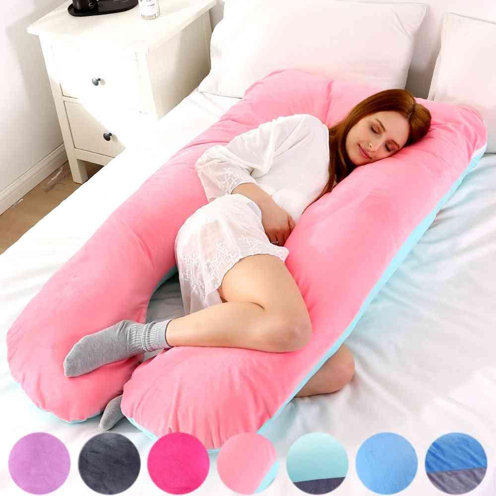 Soft Fleece U Shape Lumbar Pillow -multi Function Side Protect Pregnancy Cushion