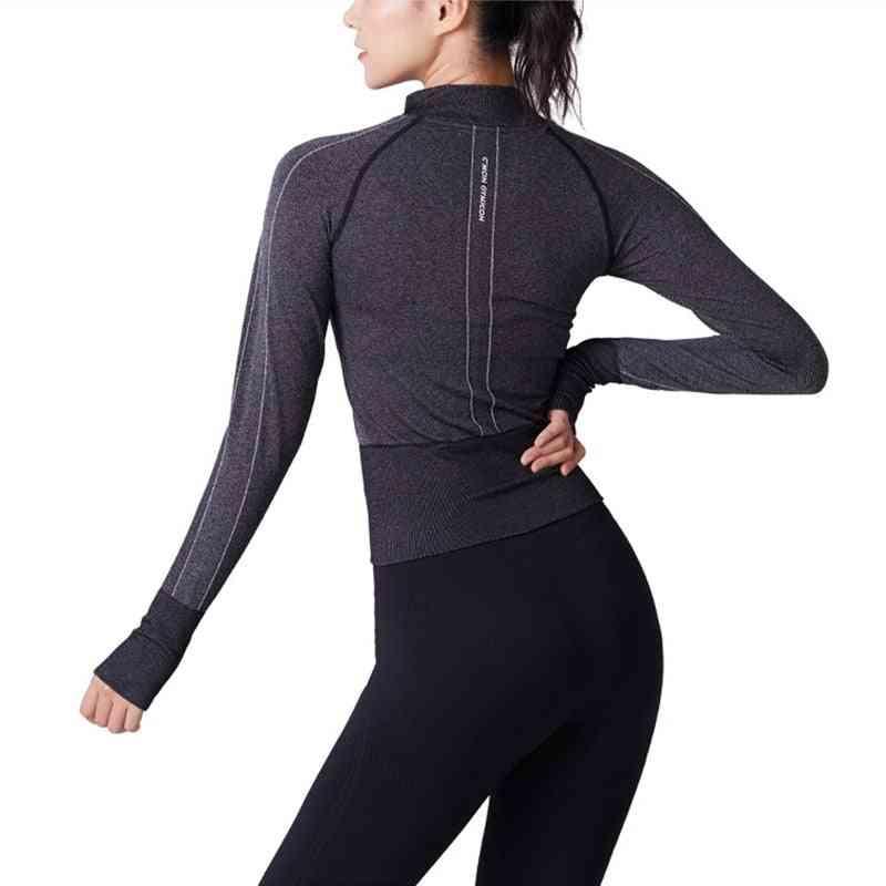 Women Running Jacket, Zipper, Long Sleeve Seamless Tops
