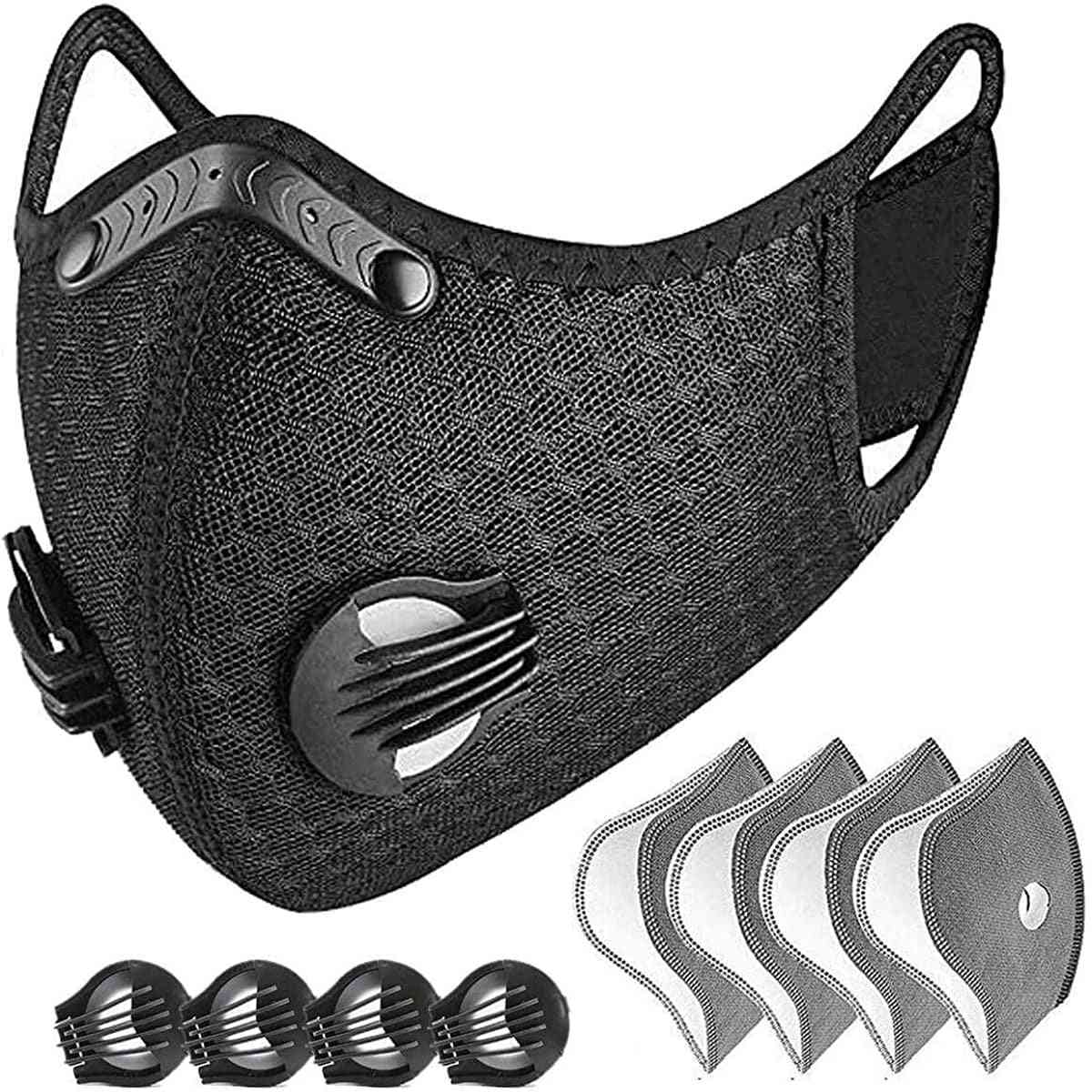 Reusable, Dustproof Respirator Face Mask With 4 Filters And Exhaust Valves