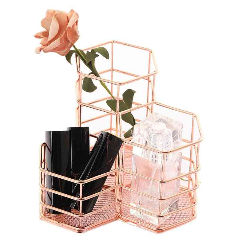 Hexagon Hollow Metal Stand-stationery Storage Container