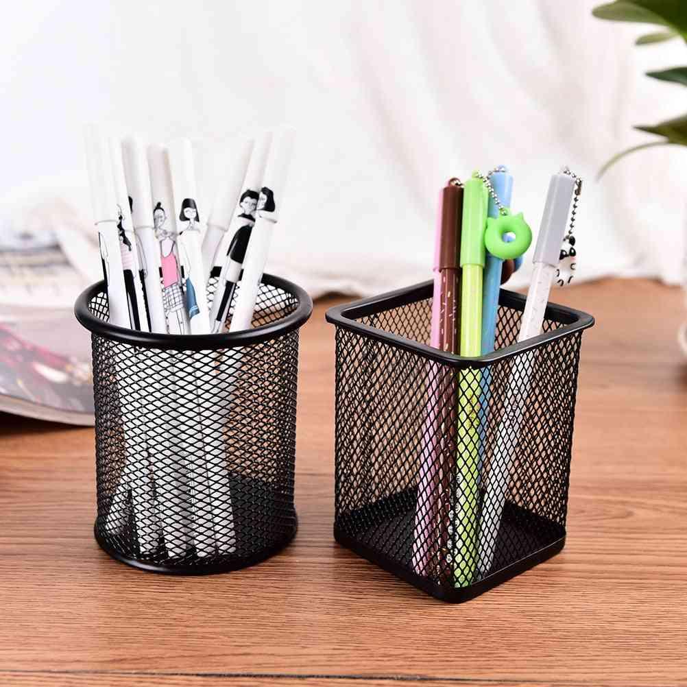 Metal Stand Mesh Style Pen Pencil Ruler Holder - Organizer Storage