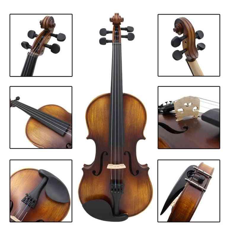 Violin Av-full Size Acoustic Fiddle Kit Solid Wood Matte Finish Ebony Board