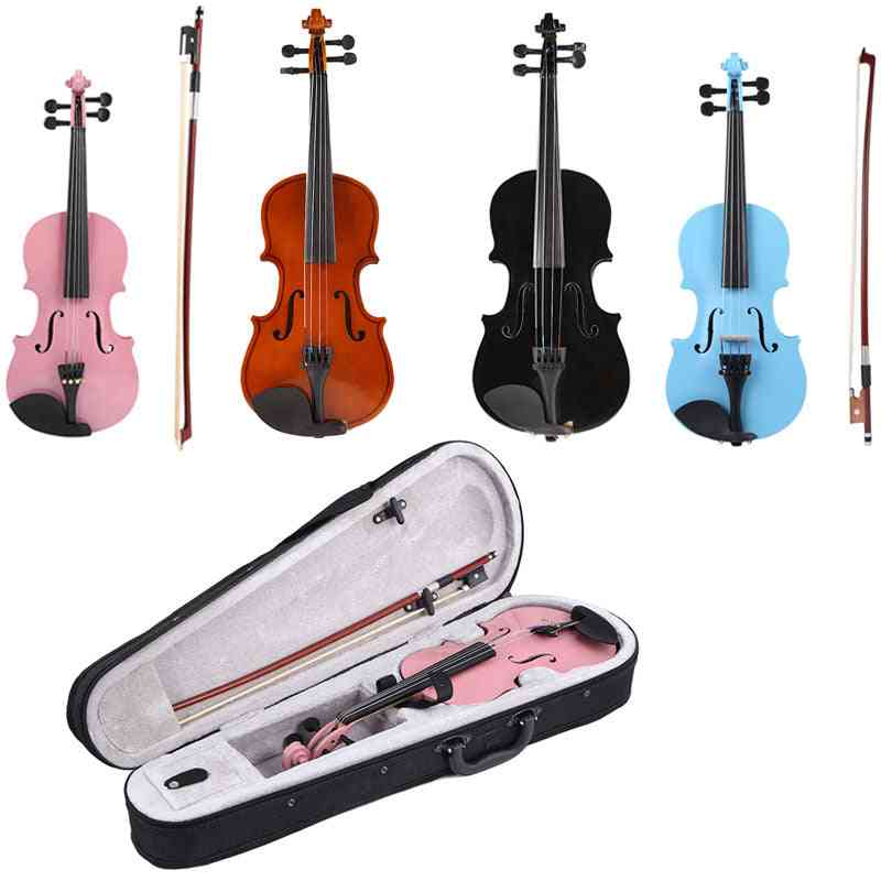 Handmade Violin Gloss Fiddle With Case Bow Rosin Musical Instrument For Beginner