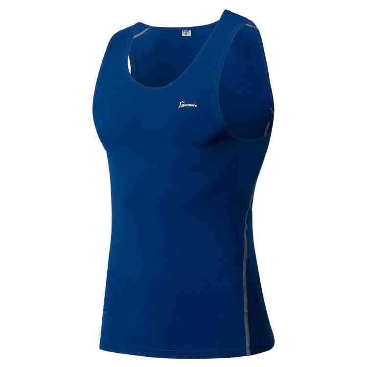 Men Sports Training Vest, Basketball Fitness Bodybuilding Sleeveless Tight Shirt