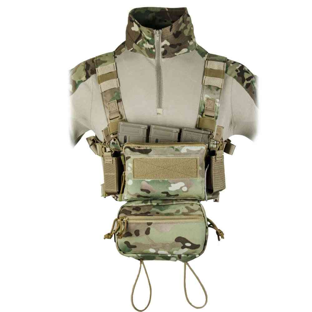Chest Rig Airsoft Tactical Vest, With 5.56 Triple M4 Mag Pouch Pistol Magazine Pouches And Storage Bag Modular Harness