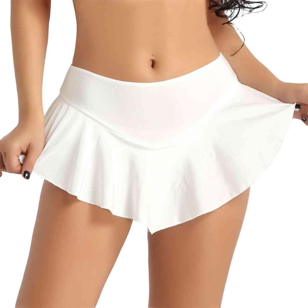 Women Stretchy Tennis Skirt With Shorts Figure Skirting- Mini Dance Short Skirts