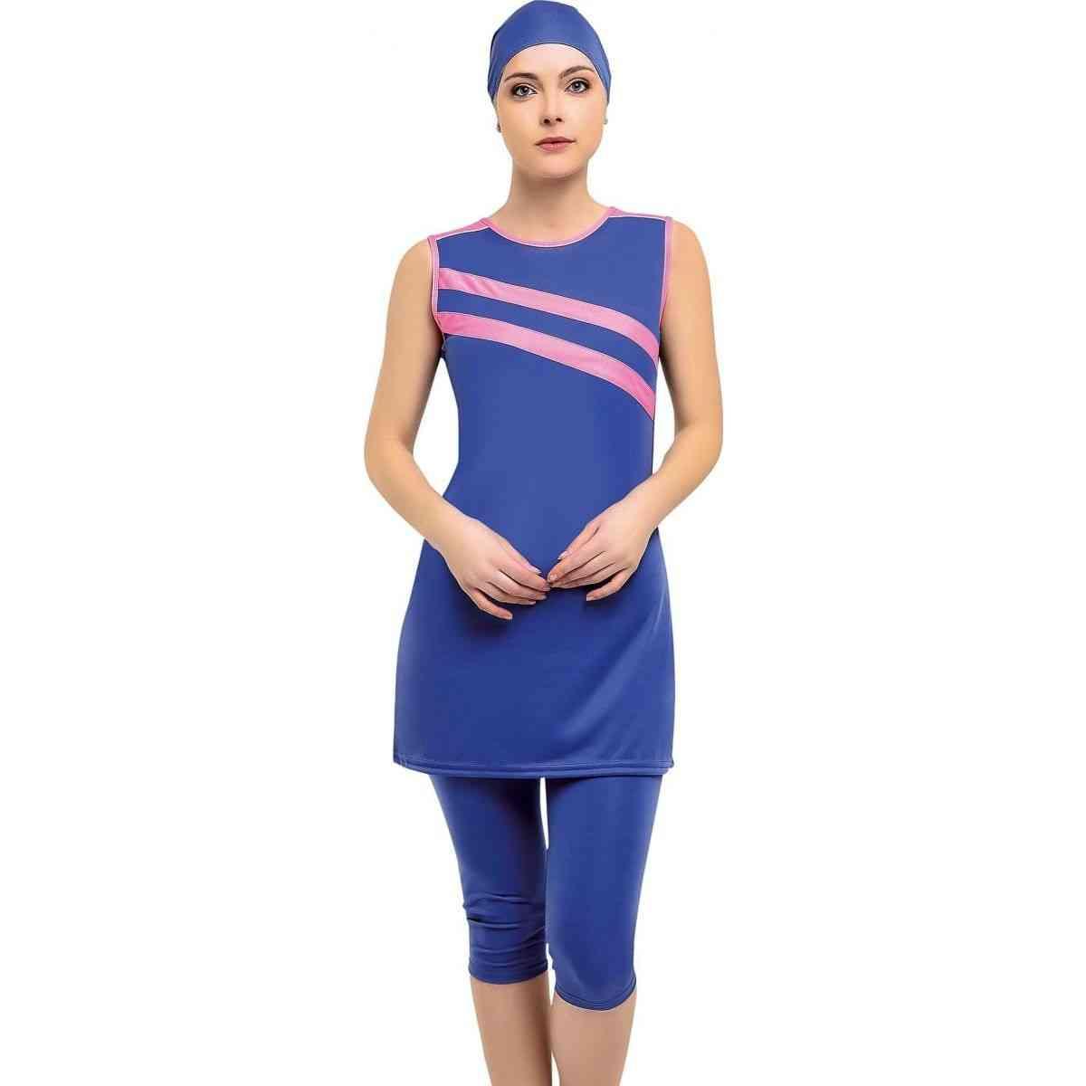 Halter Sleeveless Piece, Semi Burkini Muslim Swimwear