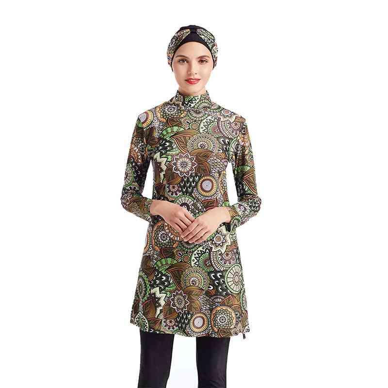 Women Floral Printed Muslim Swimwear -sport Burkinis