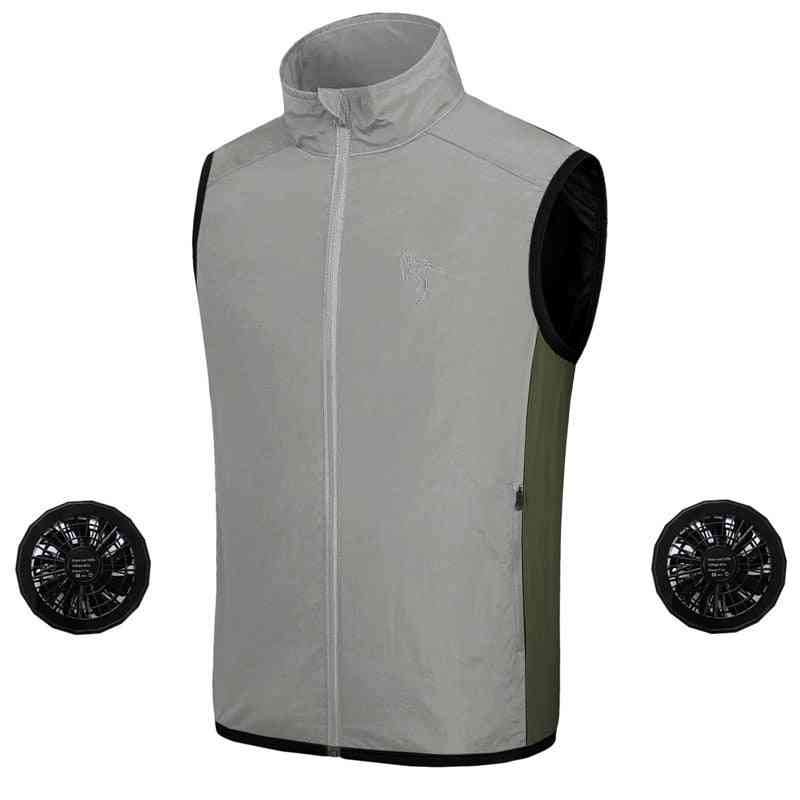 Summer Fan Cooling Vest-air Conditioning  And Sun Protection Jacket With Usb Charing