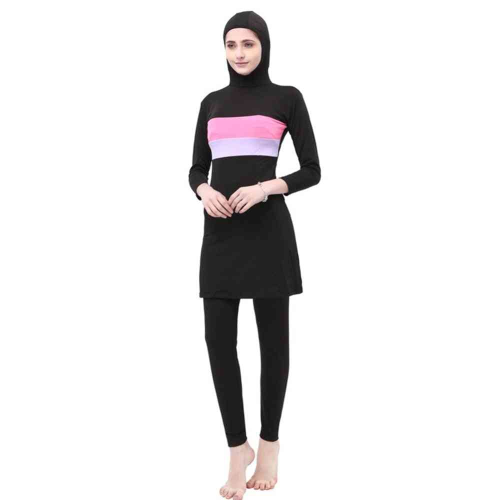 Women Stripe Printed Muslim Swimwear -sport Burkinis