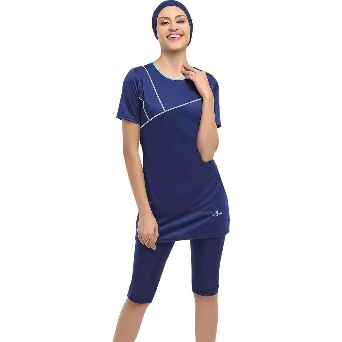 Half Sleeve Embroideried, Semi Burkini- Muslim Swimwear