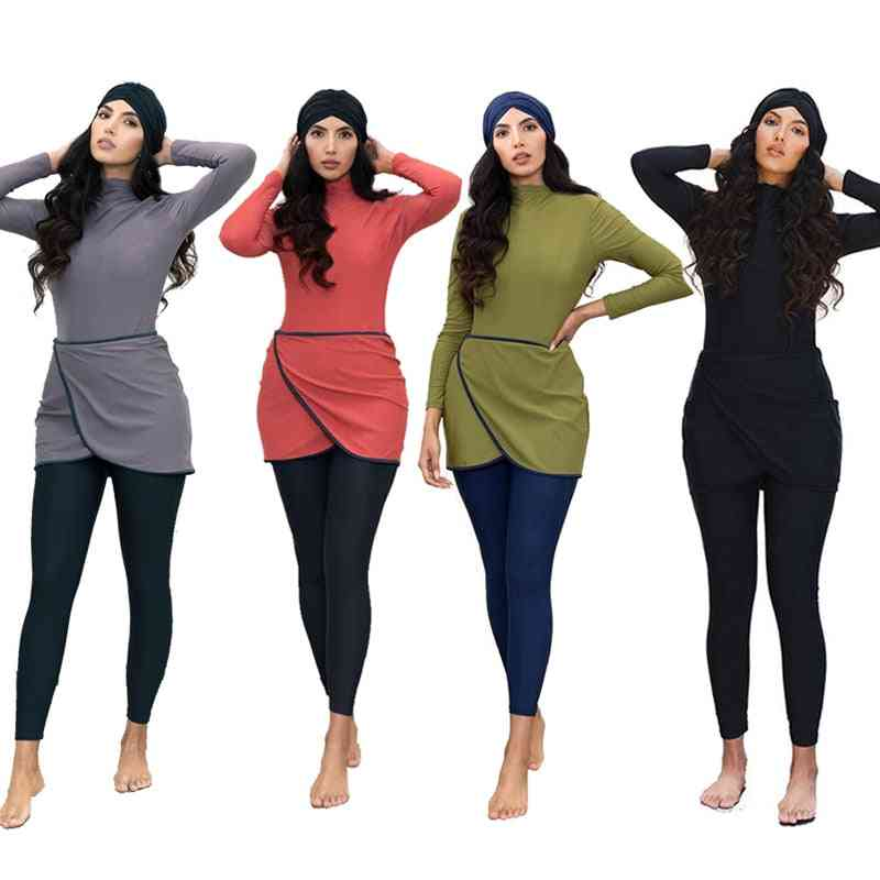 Muslim Women Swimwear, Modest Patchwork Hijab Long Sleeves Sports Swimsuit
