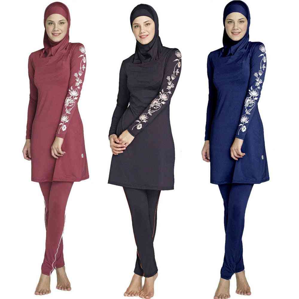 Women Printed Floral Full Cover, Muslim Swimwear