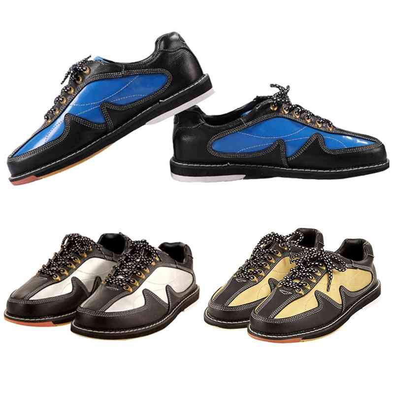 Mens Bowling Shoes, Skidproof Sole Breathable Sneakers, Soft Leather Trainers
