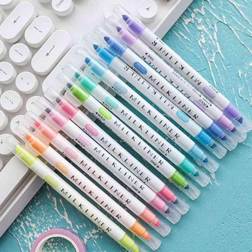 Mildliner Highlighter Pen Stationery, Double-headed Fluorescent Marker Pen