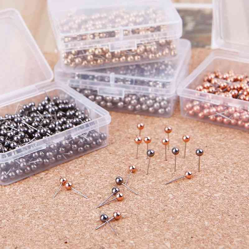 Round Plastic Head Steel Point Push Pins With Box