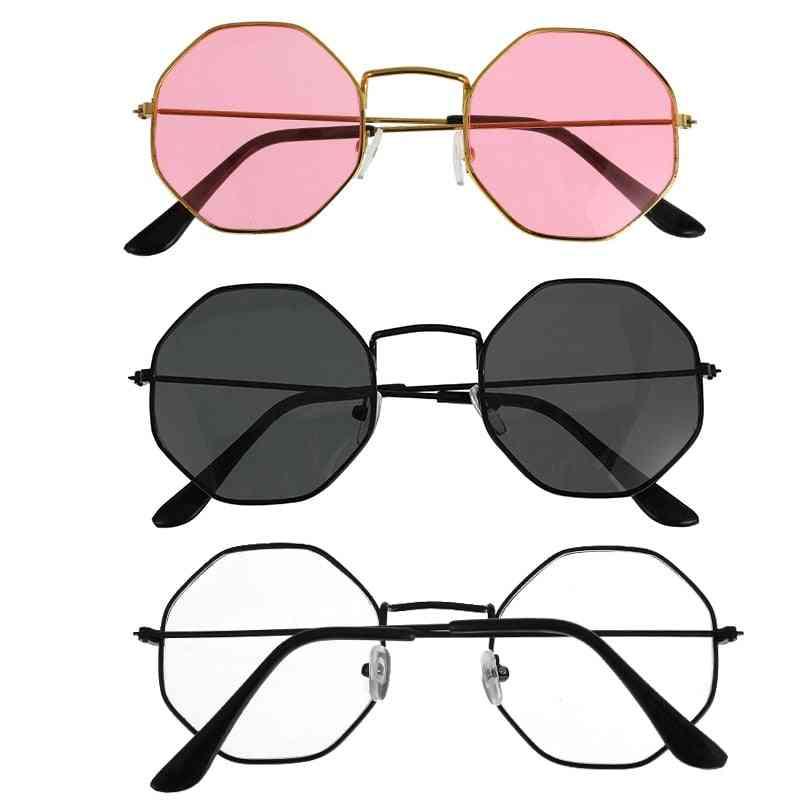 Unisex Retro Polygon Sunglasses,  Female Metal Frame Eyeglasses -high Quality