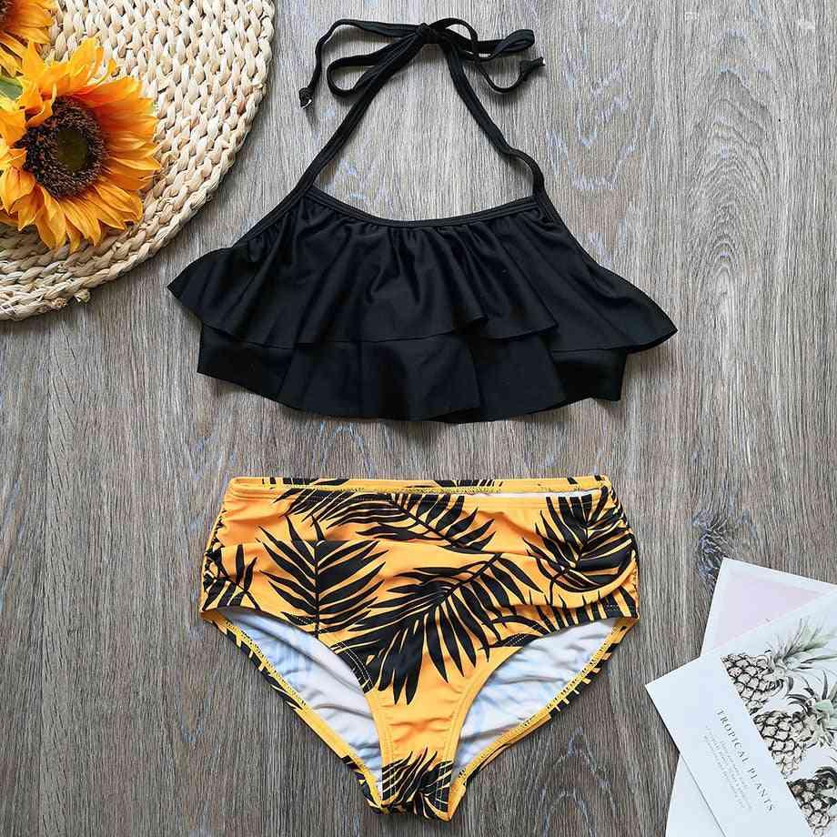Children's Swimwear, Leaf Print Bikini Halter Grils Bathing Suit
