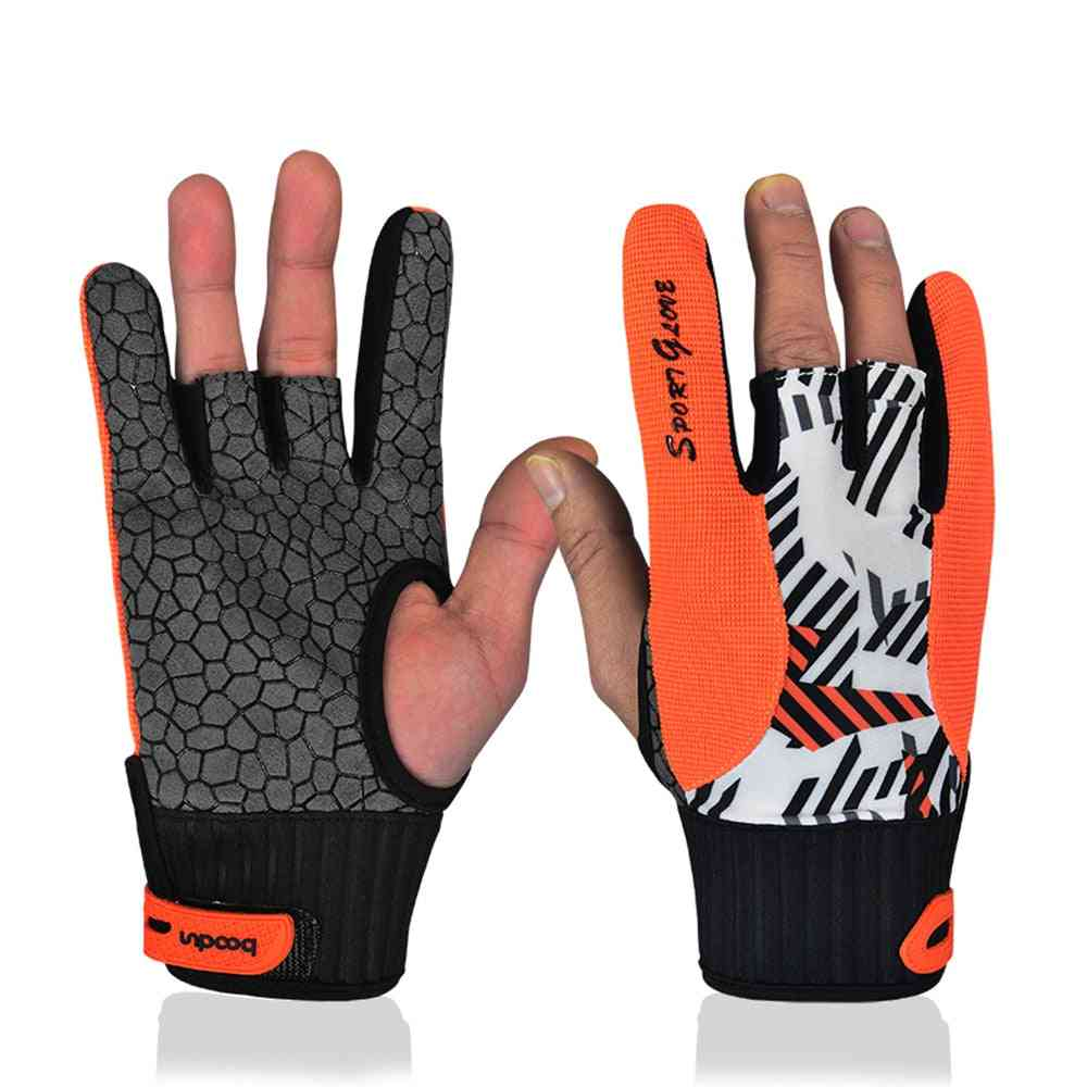 Real Professional Anti-skid Bowling Gloves, Semi Finger Instruments