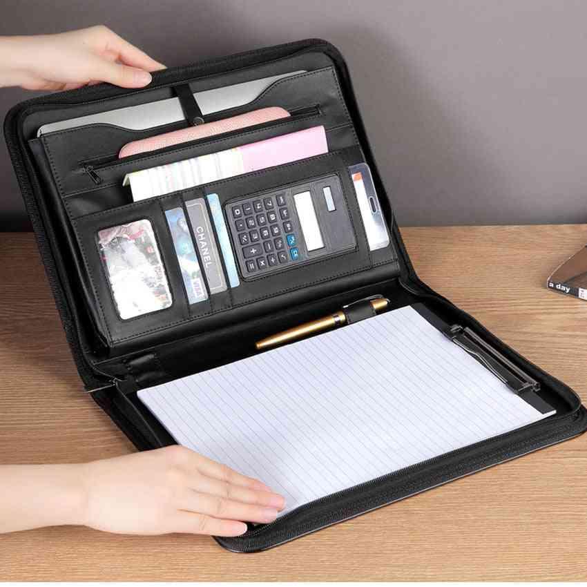 A4 Zipper File Folder, Professional Padfolio-document Holder With Calculator