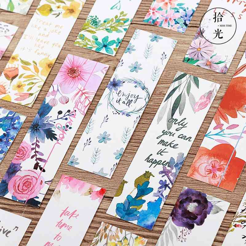 Beautiful Flowers With Message Bookmarks