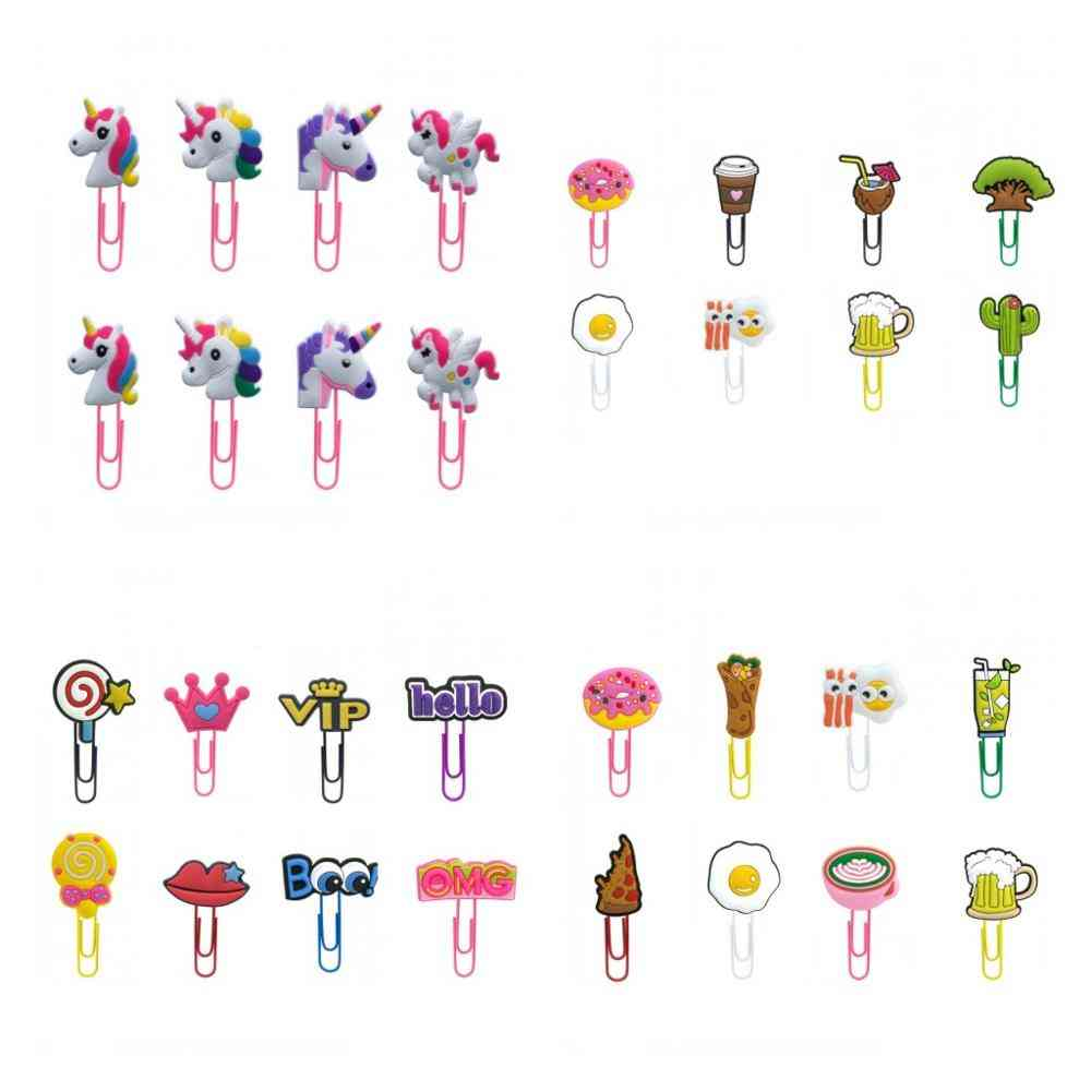Cute Animals/flower/food/plants/unicorn Shape Bookmark Paper Clips