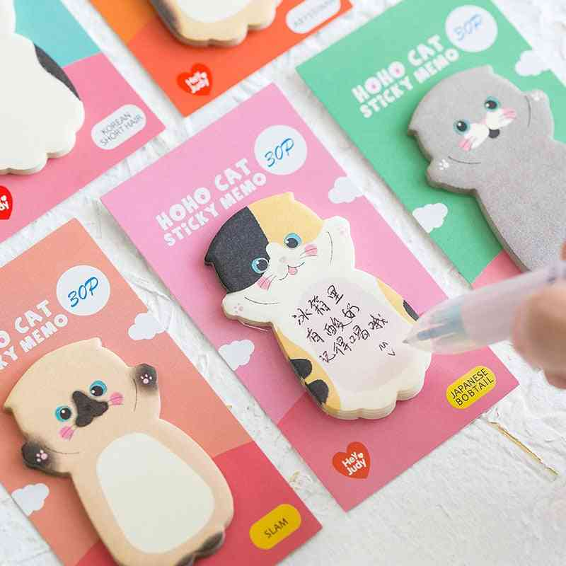 Cute Cat Series Sticky Note, Student Message Sticker, N-times Memo Pad For School Label Stationery