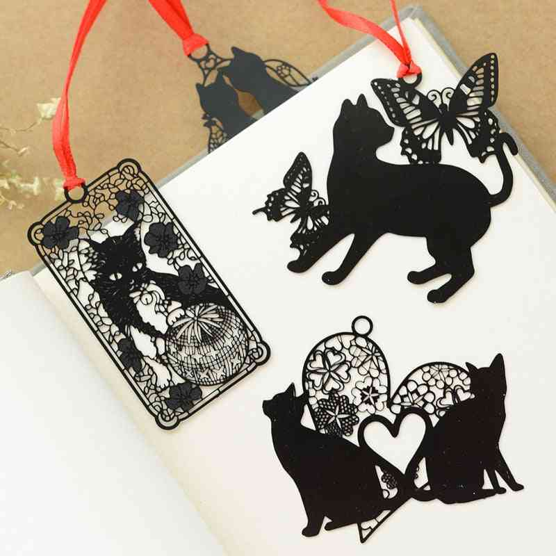 Black Cat Design Metal Bookmark