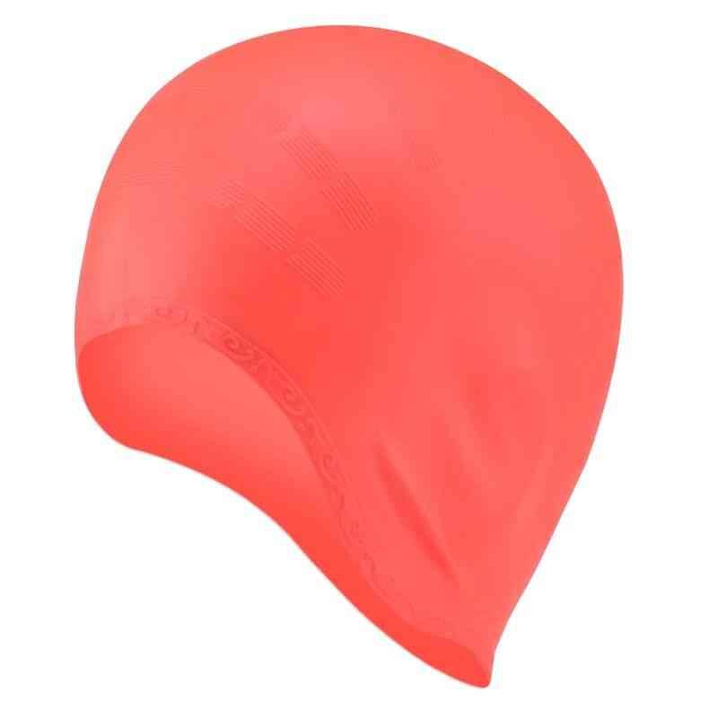 Men & Women Long Hair Waterproof Swim Pool Cap- Ear Protect Large Natacion Badmuts Silicone Diving Hat