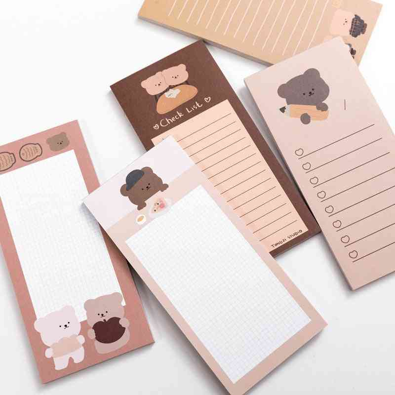Cute Cookie Bear Memo Pad, N-times Sticky Notes, Portable Notepad