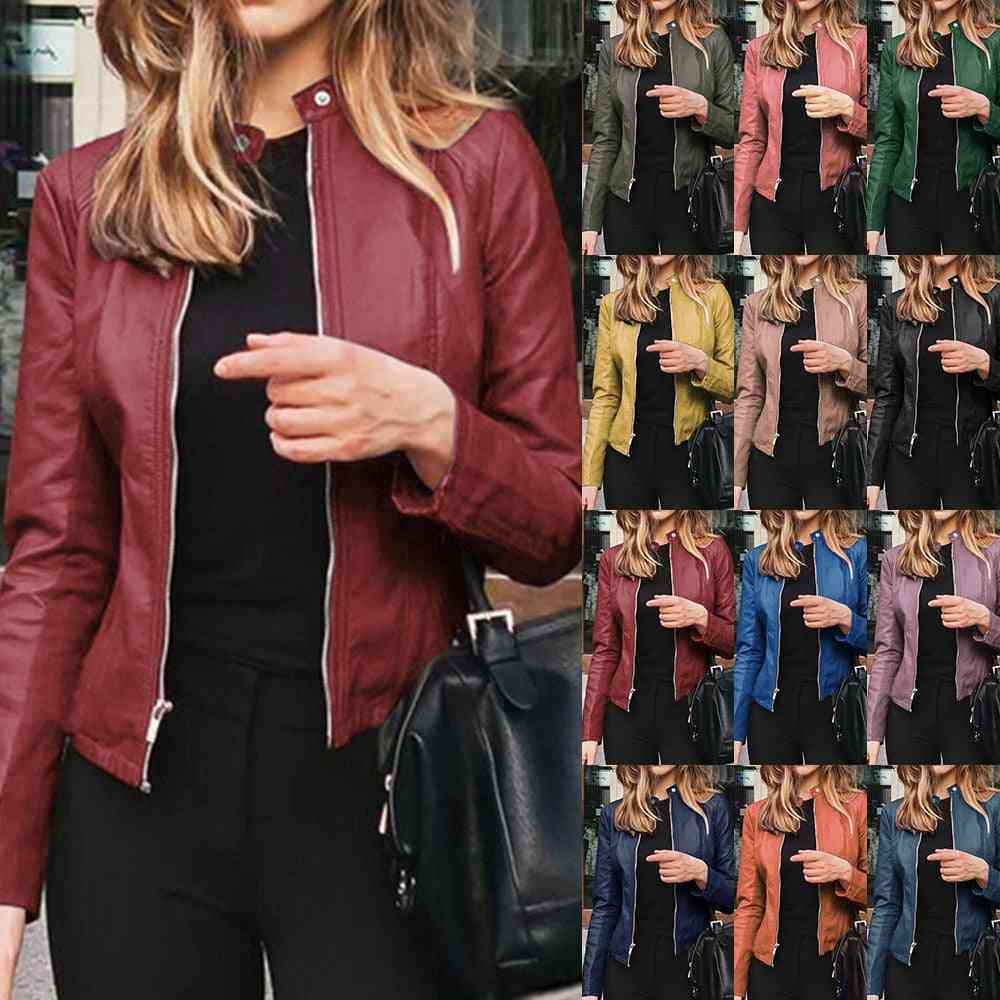 Slim Fit Leather Jacket Women, Classic Moto Biker Pu Autumn & Winter Basic Zipper Coat