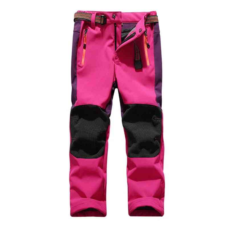 Ski Pants Hiking Camping Child, Waterproof, Breathable, Winter Fleece Soft Shell, Thick Snow Pants, Kids Skiing Trousers