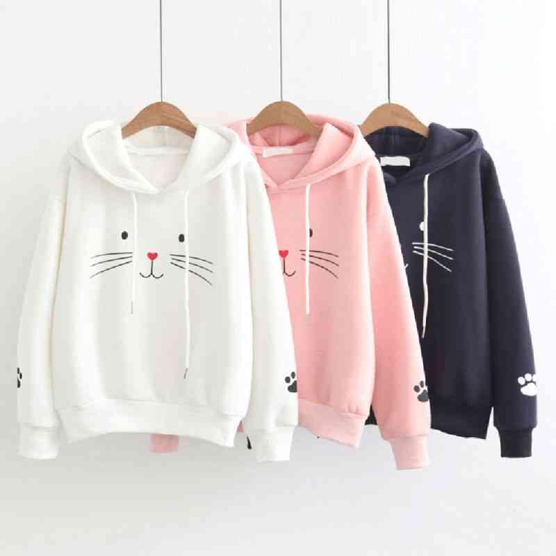 Cute Cat Printed Hooded Sweatshirt For Women